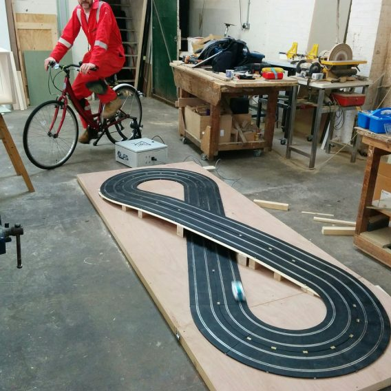 Four lane pedal power scalextric