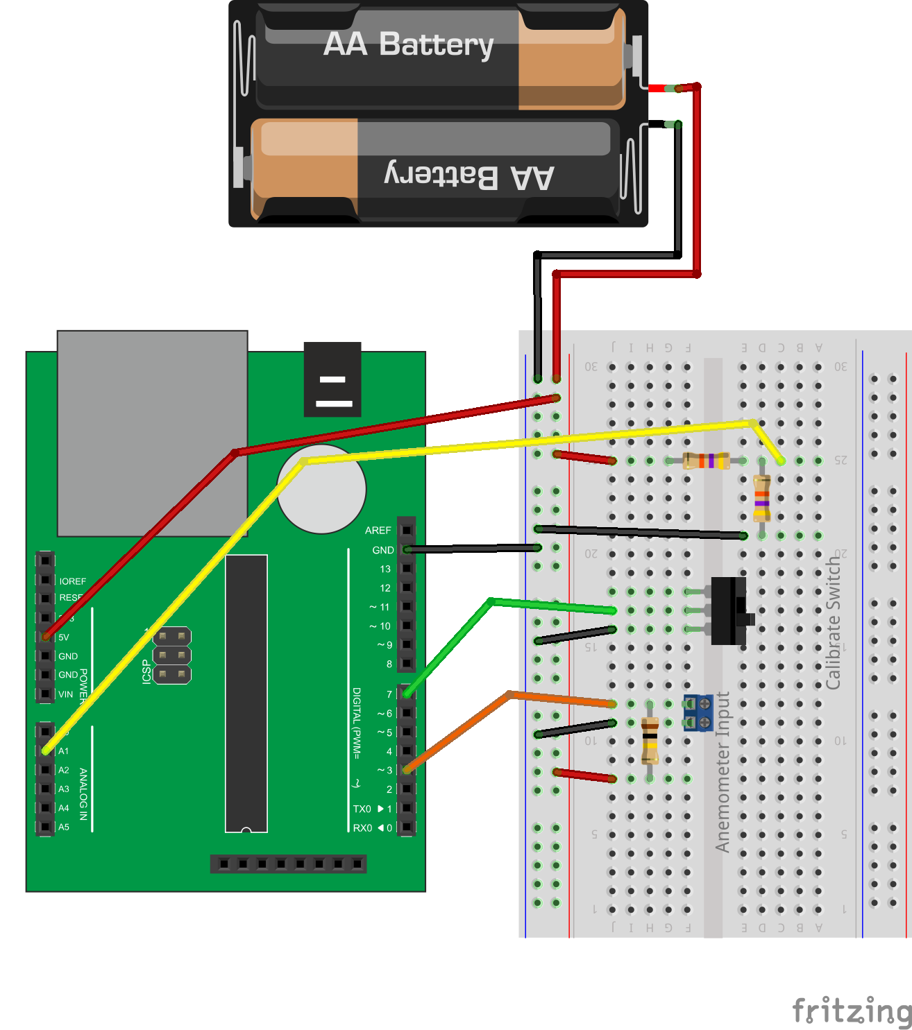 Low Cost Wind Datalogger Renewable Energy Innovation Pickit 2 Circuit Diagram Here Is The Breadboard Layout Much Simpler